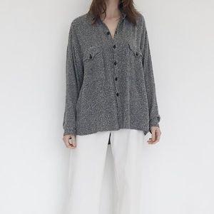 Vintage Black & White Marled Button Down Shirt